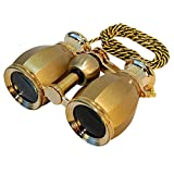HQRP HQRP Antique Style Golden Binoculars w/Crystal Clear Optic (CCO) w/Golden Trim w/Necklace