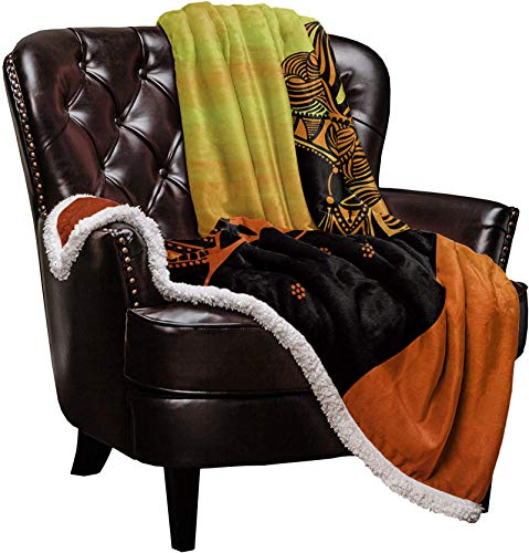 Super Soft Sherpa Throw Blanket, African Woman Black Silhouette Sunset Background Bed Blanket, Extra Warm Flannel & Sherpa Microfiber Cozy Fuzzy Lightweight Blanket for Couch Sofa, 60 x 80 inch