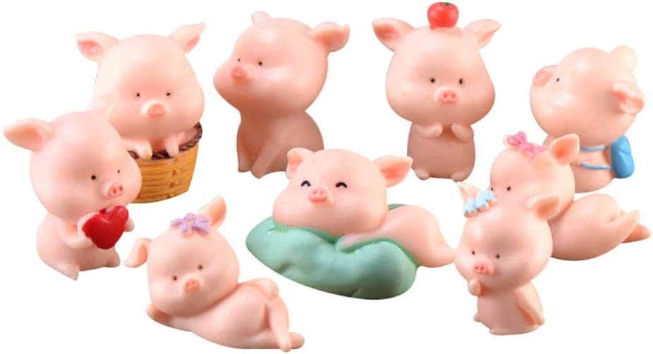 Miniature Pig Import Figurines 9 Pcs Cute Cupca Pink Figures Piggy Max 83% OFF Toy