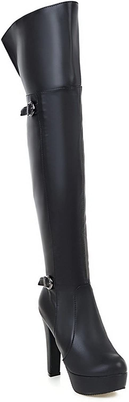 BalaMasa Womens High-Heels Zipper Platform Solid Above-The-Knee Black Urethane Boots ABL09752 - 5 B(M) US