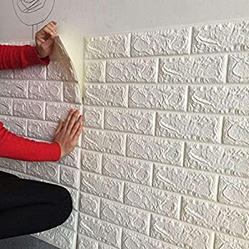 Bagno Ufficio Soontrans Carta da Parati Mattoni 3D Adesiva Muro di Mattoni Moderna Pannello Parete Decorativo Impermeabile DIY per Cucina 77 cm x 70 cm 5ps, Bianco TV Sfondo Salone
