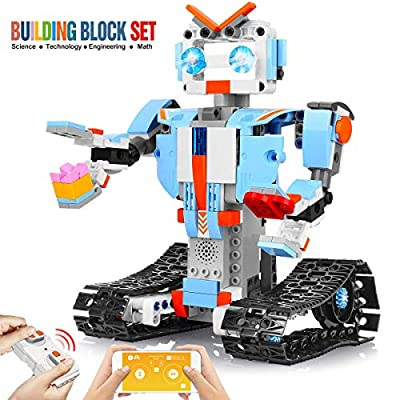 DAZHONG Remote Control Robot STEM Building Block Robot Educational kit Remote Control Engineering Science Educational Building Toy boy Girl Smart Gift(White)