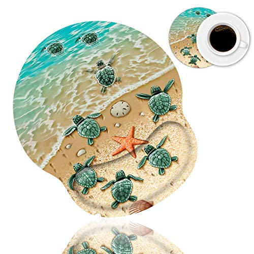 Ergonomic Mouse Pad Wrist Support and Coffee Coaster, Cute Wrist Rest Pad with Non-Slip PU Base for Home Office Working Studying Easy Typing & Pain Relief, Sea Turtles on The Beach
