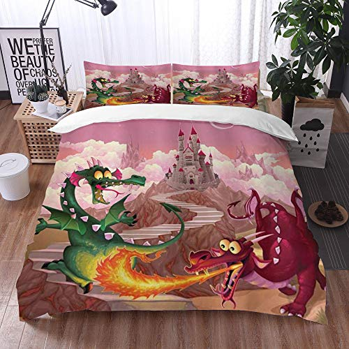 Mingdao bedding - Duvet Cover Set, Fantasy Funny Dragons in Flame in Front of Castle Fable Comic Legend Creatures Illustration,Microfibre Duvet Cover Set 200 x 200 cmwith 2 Pillowcase 50 X 80cm