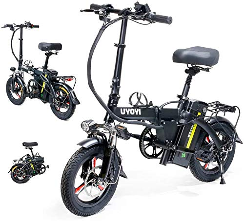 Electric Bike Electric Folding Bike Fat Tire City Mountain Bicycle Booster Lightweight Alloy Folding 400W Silent Motor E-Bike, Dual Disc Brakes, Portable Easy To Store in Caravan, Motor Home, Boat