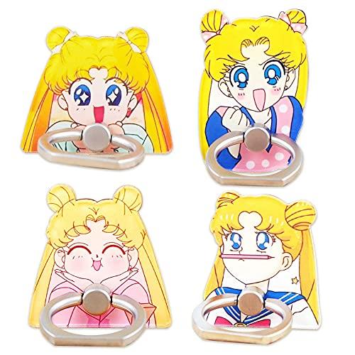 Jinxy 4Pcs Pikachu Sailor Moon Cute Acrylic Cell Phone Ring Adjustable Holder Anime Manga (Sailor Moon A)