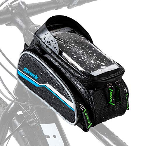 Sireck Phone Holder Bike Bag, Waterproof Top Tube Bicycle Frame Bag, 6.5 inch Touchscreen Cycling Cellphone Mount Pannier Accessories for iPhone 12 Pro Max, Huawei