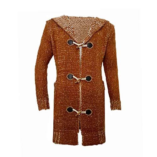 Zestion Chaqueta de Punto con Capucha de Longitud Media para Hombre con Hebilla de Cuero Decorada Moda callejera Suéter Informal Suéter Abrigo de Punto