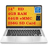 HP 14 Pentium Premium Chromebook Laptop I 14' HD SVA Display I Intel Quad-Core Pentium Silver N5000 I 4GB DDR4 64GB eMMC 256G SD Card I B&O Webcam HP Fast Charge Chrome OS + Delca 16GB Micro SD Card