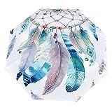 Paraguas anti-UV para sol/lluvia,Atrapasueños Acuarela Pluma Rústico Vintage Teal Azul Blanco Hippie Psicodélico Bohemio A prueba Paraguas de viaje a prueba de viento: compacto, automático.