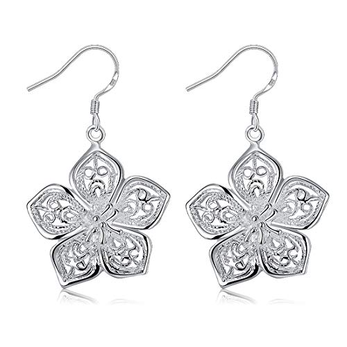 An baby123 Camellia Ohrringe Silber Hohlohrstecker Silber Kook Ohrringe Geschenk for Frauen Schmuck