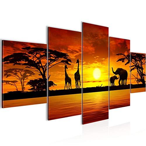 Runa Art - Bilder Afrika Sonnenuntergang 200 x 100 cm 5 Teilig XXL Wanddekoration Design Orange 000251a