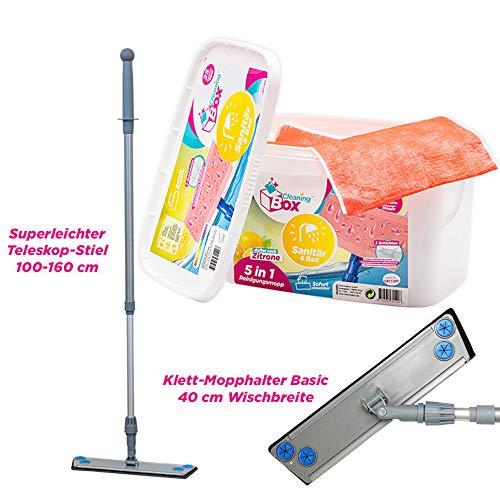 CleaningBox® WetCleanMops Bodentücher Wischmop Set Bad und Sanitär, inkl. 25er Spenderbox Feuchte Bodentücher, Staubwischer für Sanitär und Bad mit Teleskop-Stiel - Made in Germany …