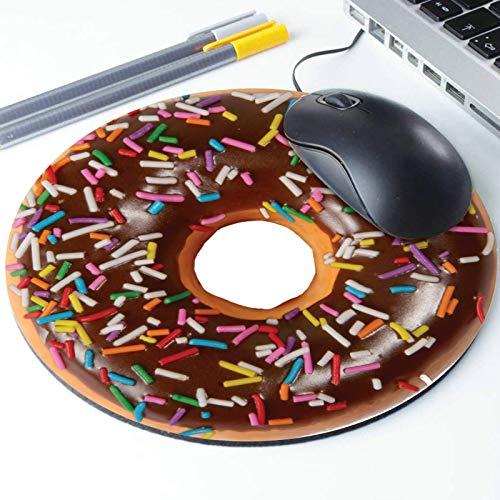 Chocolade Donuts met Sprinkles muismat, Simulatie Donut Foodie Ronde Ergonomische muismat Antislip Rubber Materiaal voor Office Bureau Gaming Home Space Decor - 220mm Diameter