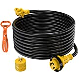 Kohree 30 Amp RV Power Extension Cord 50 ft with Grid Handle Heavy Duty, 30M/30F 90 Degree Locking Adapter, LED Indicator & 15M/30F Power Adapter(1875 W), 125V, 3750W, ETL Listed STW Wire