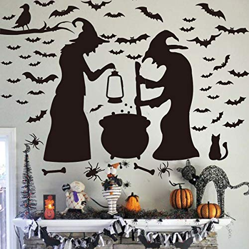 Ivenf Halloween Decorations, Wall Decal Window Decor Party Supplies, 2 Witches with Bats Spider Cat and Crow