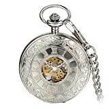 Avaner Reloj de Bolsillo Steampunk Vintage Reloj Mecanico Hueco Transparente con Números Romanos, Reloj Cazador Plateado Floral Grabado