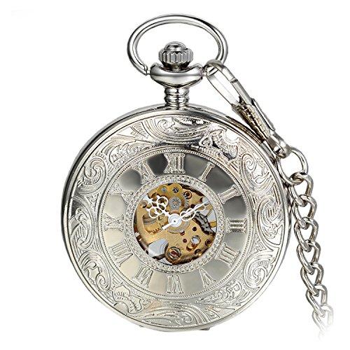 Avaner Orologio da Tasca Taschino Meccanico da Uomo,Stile Gotico Steampunk, Forma di mano di scheletro,Numeri Romani,Colore Argento