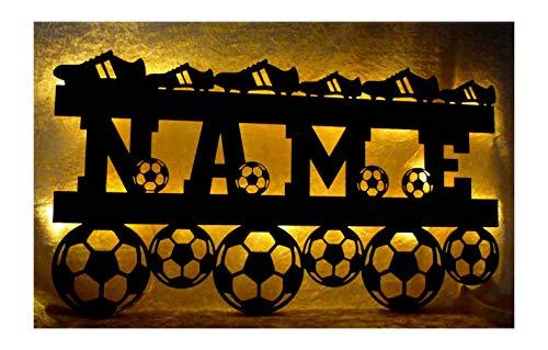 Schlummerlicht24 3d Led Lampe Fußball Soccer mit Name personalisierbar Geschenke für Fußballer Junge Mädchen Wand-Tattoo