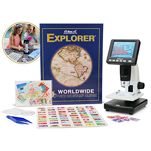 IQCREW by AmScope Kid's Premium Portable LCD Color Digital Microscope with Explorer's Worldwide Stamp Collecting Kit