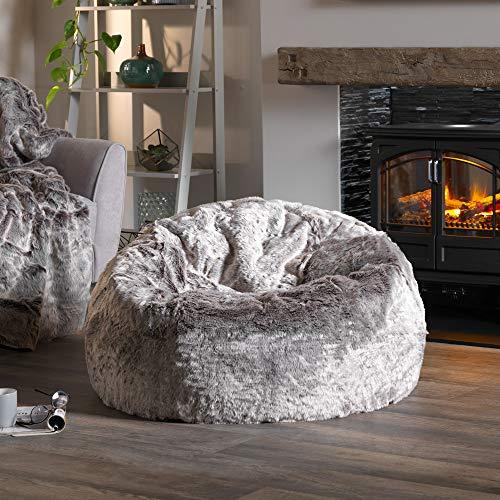 Icon Klassischer Sitzsack aus Kunstpelz, Sitzsäcke für das Wohnzimmer, 85cm x 50cm, Groß, Stuhl für das Schlafzimmer (Arktischer Wolf Grau) - 3
