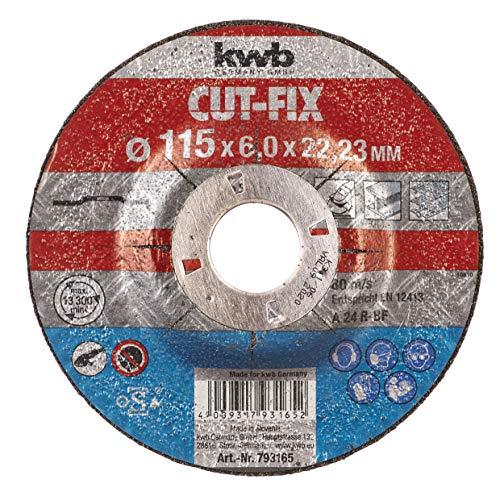 kwb Schruppscheibe Cut-Fix 793165 (115 x 22, gekröpft, 6.0 mm dick, für Metall und Stahl, für Winkelschleifer)