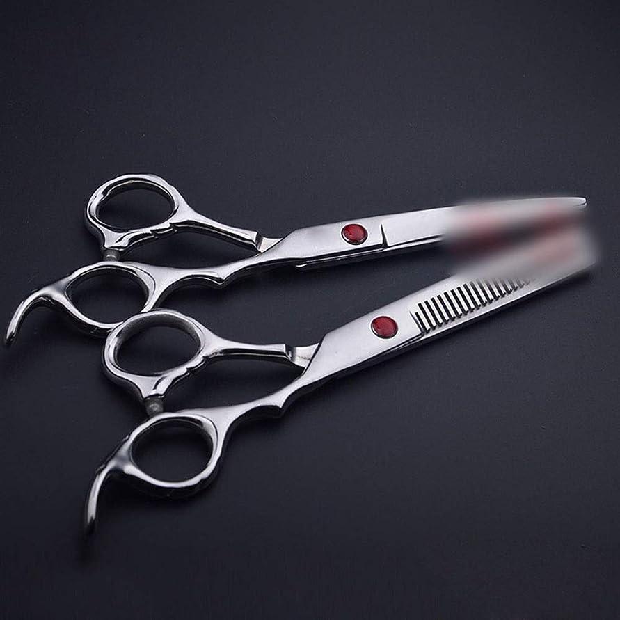処方する負担発行理髪用はさみ 6.0インチストレートハンドルプロフェッショナル理髪はさみ、フラット+歯はさみ散髪セットヘアカット鋏ステンレス理髪はさみ (色 : Silver)