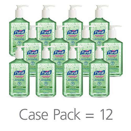 PURELL Advanced Hand Sanitizer Soothing Gel for the workplace, Fresh scent, with Aloe and Vitamin E - 12 fl oz pump bottle (Pack of 12) - 3639-12