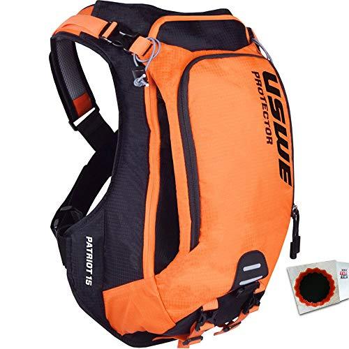 USWE Protektor-Rucksack Patriot 15 ohne Trinkblase schwarz orange +Flicken