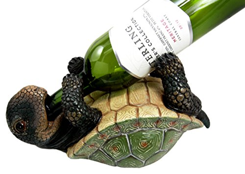 Ebros Drunken Coastal Sea Turtle Tortoise Wine Bottle Holder Caddy Figurine As Home Kitchen Wine Cellar Decorative Storage Organizer Wild Aquatic Animals Turtles Terrapins Tortoises Decor (1)