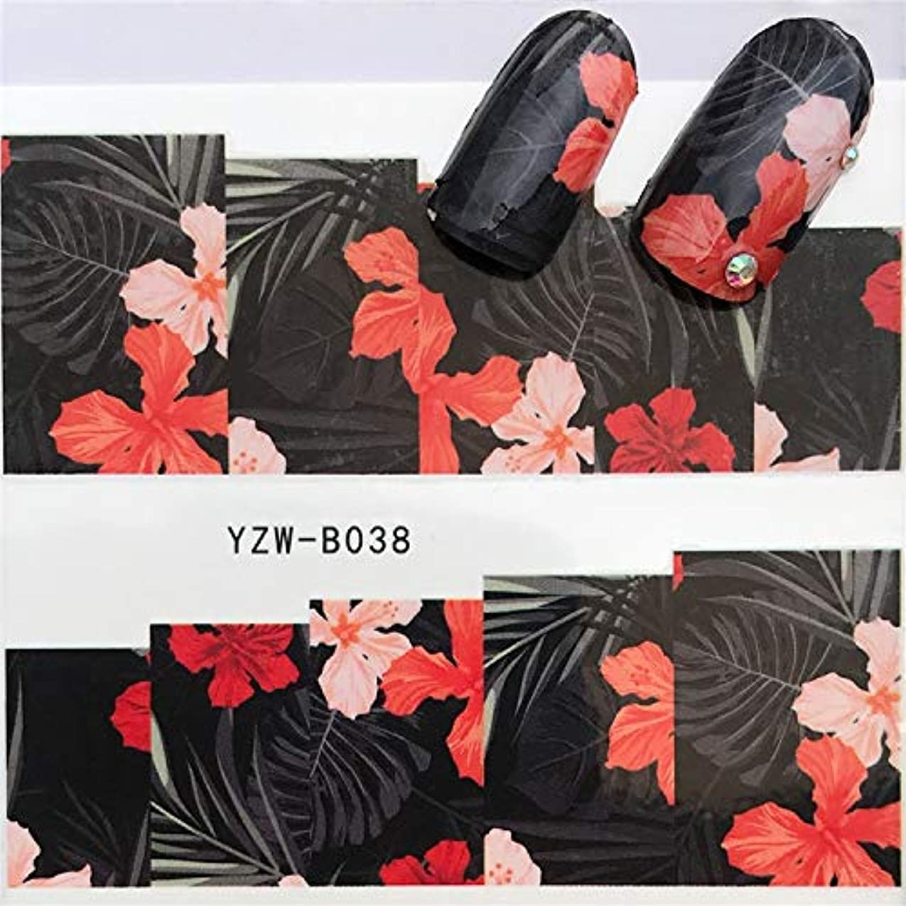 地区フェリー浴室ビューティー&パーソナルケア 3個ネイルステッカーセットデカール水転写スライダーネイルアートデコレーション、色:YZWB038 ステッカー&デカール