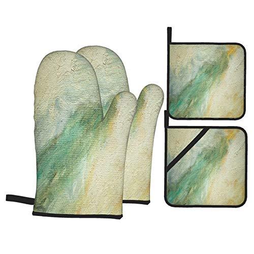 Guante de Horno de 4 Piezas y agarradera,Pintura Abstracta Interior,Guantes Aptos para...