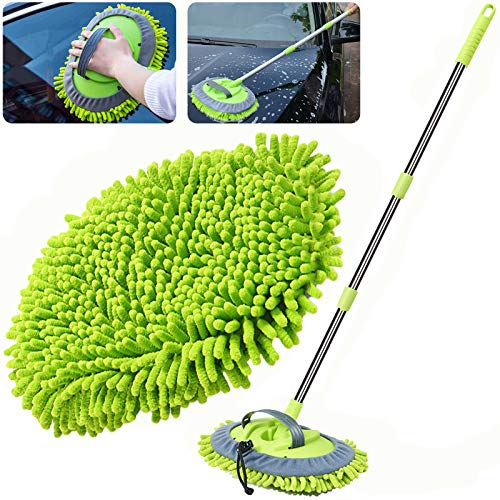 "WillingHeart 47.5"" Car Wash Brush Mop Cleaning Tool with Long Handle Kit for Washing Detailing Cars Truck, SUV, RV, Trailer, Boat 2 in 1 Chenille Microfiber Sponge Duster Not Hurt Paint Scratch Free"