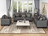 Harper & Bright Designs 3-Piece Living Room Sectional Sofa Set, Modern Style Button Tufted Arm Chair Loveseat Sofa Sectional Couch Set with Tufted Cushions, Grey
