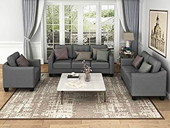 Harper & Bright Designs Living Room 3 Piece Sofa Couch Set,3 Seats Loveseat Single Chair Sectional Sofa Set Grey