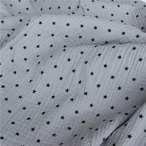 DONG Atmungsaktiver Kreppstoff aus Reiner Baumwolle Hautfreundlicher Leinenbaumwoll-Doppelgaze-Stoff DIY-Nähtextil-Pyjama-Stoff, J, 100 x 135 cm