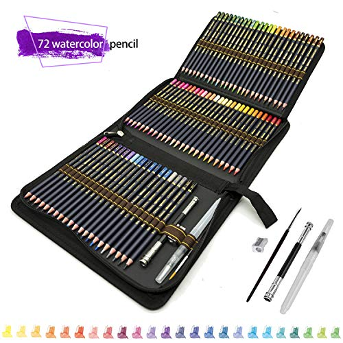 72 Aquarell Buntstifte Set, Zeichnen Bleistifte Art Set für Farbmischung Malen und Skizzen,hochwertige Künstlerstifte mit lebendigen Farben und schönen Mischeffekten mit Wasser,perfekt für Schule