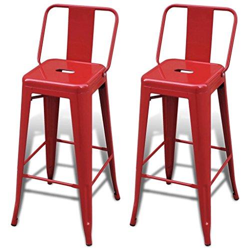 vidaXL Juego de 2 taburetes altos con respaldo rojo