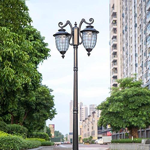 Skingk Schwarz Doppelkopf Lampe Aluminiumguss E27 Post Licht Post Leuchte Mit Hoher Pole Basis for Garten Im Freien Post Pole Mount Zaun Tor Lampe Säule Stigma Rasen Licht (Größe : 2.85m)