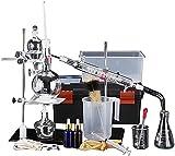HTDHS Equipo de Vida Laboratorio químico Laboratorio de destilación Purificación Set de Aceite Refinado Laboratorio Cristalería Aceite Esencial Distillero Purificador de Agua con Caja de Herramientas