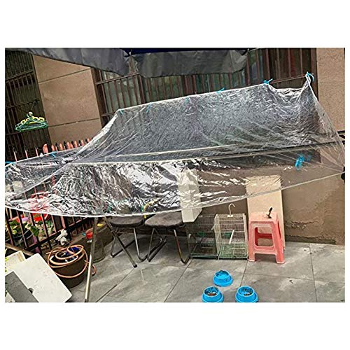 SHIJINHAO Sun Shade Sail, PVC Tarpaulin Waterproof Heavy Duty Transparent Canopy Plant Protection Rainproof Sheet With Rustproof Grommets, 27 Sizes (Color : Clear, Size : 3x6m)