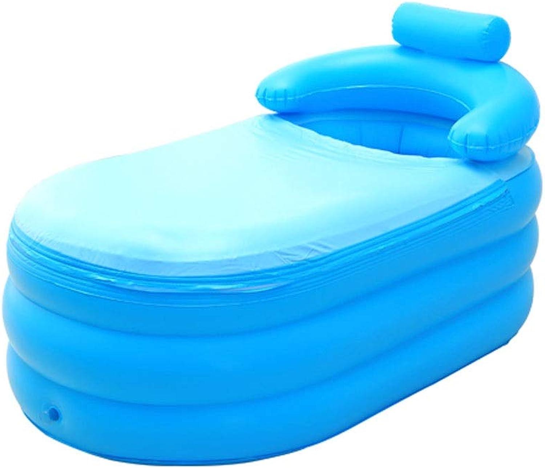 DEI QI Faltbare aufblasbare Hauptfreizeitbadewanne Plastikbadewanne-Verdickungswanne tragbares Blau mit Isolierabdeckung Erwachsener mit bequemer Kissen-Badewanne (Farbe   Blau a)