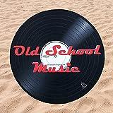 BE CRAZY THE BRAND Toalla de Playa Microfibra Forma de Vinilo Old School Music - Poliéster y Nylon, 148cm diámetro.