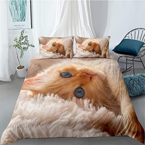 YYSZM Edredón Textiles para El Hogar 3D Cat Impresión Digital Ropa De Cama Suave Y Cómoda Juego De 3 228x228cm