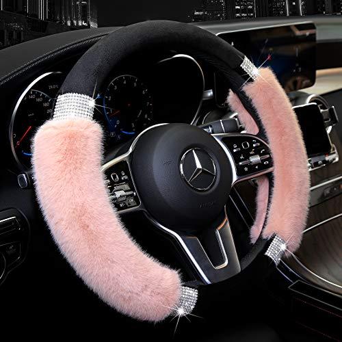 Achiou Cubierta Universal para Volante, de la Marca, Lana sintética y Diamantes de imitación Brillantes, para Ruedas de vehículo, para Mujeres, niñas, 15 Pulgadas