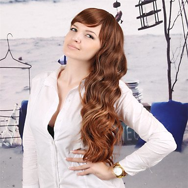 jiayy – Perruque Cheveux Bouclé/ondulé large/Kinky Bouclé synthétique – Pour Femmes Brun clair