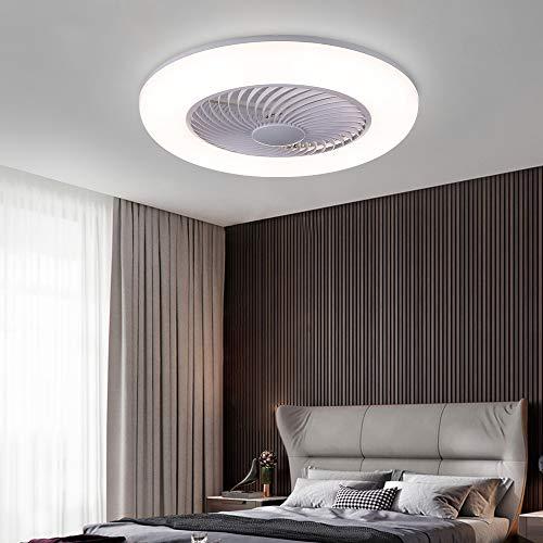 LHLYCLX Lampe Mit Ventilator, Einstellbare Windgeschwindigkeit Dimmbar Mit Fernbedienung Fan Deckenleucht, 48W leise Schlafzimmer Wohnzimmer Licht Mit Ventilator Weiß ((Ø55*H20cm))