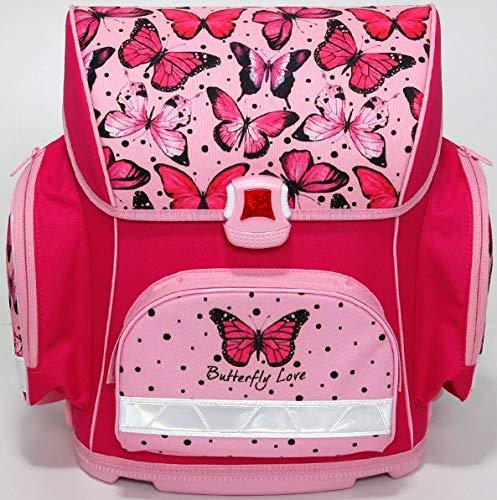Stylex Schulranzen - 4teiliges Set - Motiv Pinker Schmetterling