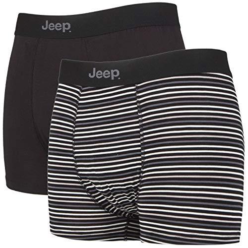 Jeep - 2er Pack Bambus Boxershorts Trunks mit Einfarbig Muster und Streifen (M, Schwarz/Char)
