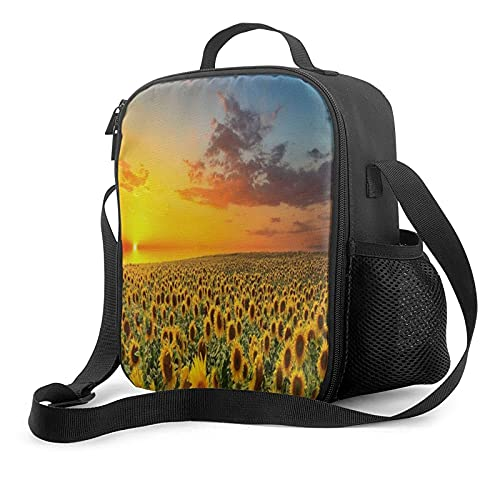 Reusable Almuerzo Bolso, Endless Sunflower Portátil Thermal Insulation And Cold Preservation Aislado Almuerzo Bolso Double Zipper Caja de almuerzoOrganizer For Picnic,Office,School,Picnic,Beach